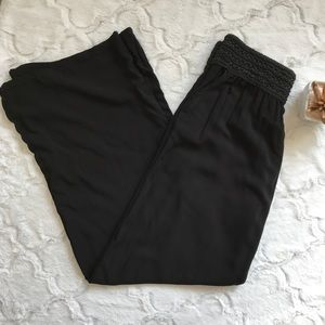 Joe B black linen wide leg pant